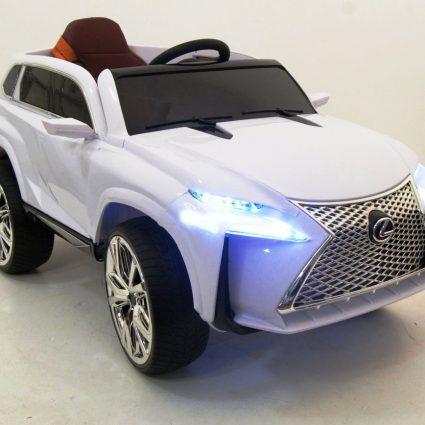 Электромобиль Lexus Е111КХ белый (колеса резина, кресло кожа, пульт, музыка)